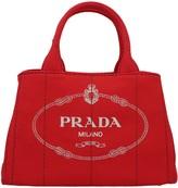 Prada Logo Print Canvas Tote Bag