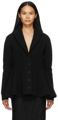 Alexander McQueen Black Wool Flared Cardigan