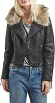 Topshop Faux Leather Moto Jacket with Removable Faux Fur Collar
