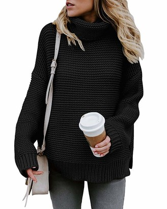 Yidarton Sweaters Women's Chunky Turtleneck Casual Knitted Jumper Pullover Long Sleeve Tops Ladies