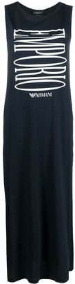 Emporio Armani Logo Print Maxi Dress