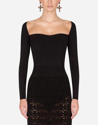 Dolce & Gabbana Sweetheart-Neck Sweater
