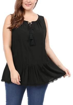 Unique Bargains Lady Plus Size Lace-Up Front Lace Trim Sleeveless Top Black /3X