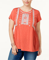 Style&Co. Style & Co Plus Size Embroidered Peasant Top, Only at Macy's