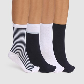 Dim Pack of 4 Pairs of Patterned Ankle Socks