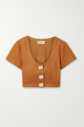 Nicholas Lou Pleated Linen Cropped Top - Saffron