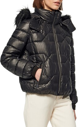 Andrew Marc Faux Fur Trim Down & Feather Puffer Jacket