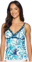 Tommy Bahama Tropical Swirl Over the Shoulder Shirred Tankini Women's Swimwear