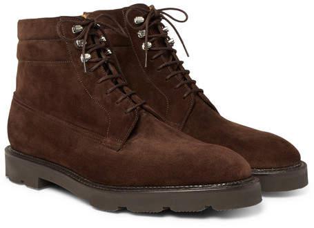 John Lobb Alder Suede Derby Boots - Dark brown