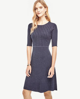 Ann Taylor Ribbed Flare Sweater Dress