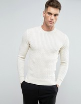 Selected Cotton Flat Cable Knit Sweater