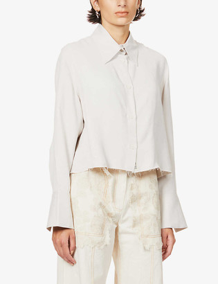 Song For The Mute Script raw-hem cropped twill shirt