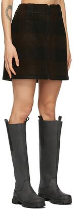 Ganni Black Wool Zip Miniskirt
