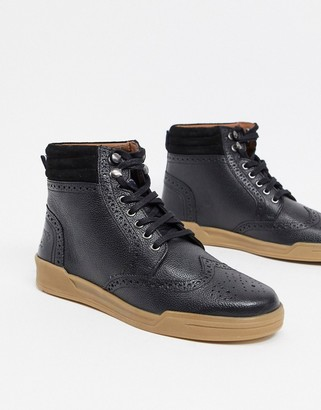 Original Penguin lace up leather ankle boots in black