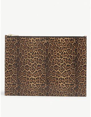 Saint Laurent Leopard-print large leather pouch