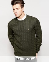 Farah Jumper With Cable Knit Exclusive - Green