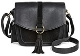 T-Shirt & Jeans Women's Faux Leather Mini Crossbody Handbag with Side Pockets and Tassel
