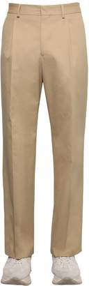 MSGM Pleated Cotton Canvas Chino Pants