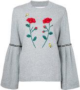 Muveil flower appliqué sweatshirt - women - Cotton/Polyurethane - 38