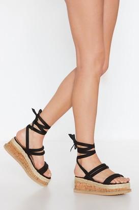 Nasty Gal Womens Put A Cork In It Wrap Platform Sandals - Black - 3