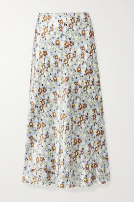 Lee Mathews Bella Floral-print Silk-satin Midi Skirt - Mint