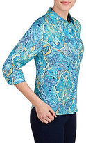 Allison Daley 3/4 Sleeve Paisley Print Button-Front Shirt
