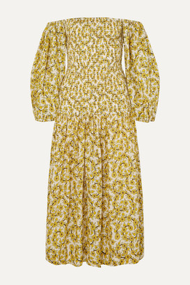 Rhode Resort Harper Smocked Floral-print Cotton-gauze Midi Dress - Yellow