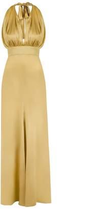 MONICA Nera Marilyn Yellow Silk Long Dress