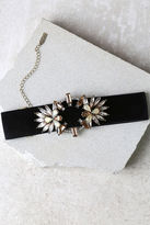 LuLu*s Fantasyland Black and Beige Rhinestone Choker Necklace