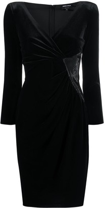 Emporio Armani Embellished Panel Velvet Dress