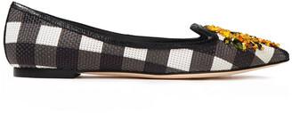 Dolce & Gabbana Crystal-embellished Checked Basketweave Point-toe Flats