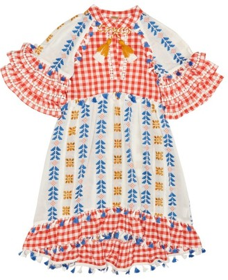 Dodo Bar Or Kids Lola Embroidered Cotton Dress - Red Multi
