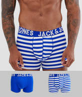 Jack & Jones 2 pack trunks in solid and stripe blue