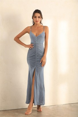 Miss Floral Ruched Split Cami Maxi Dress In Grey