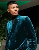 Asos Design DESIGN super skinny double breasted blazer in forest green velvet
