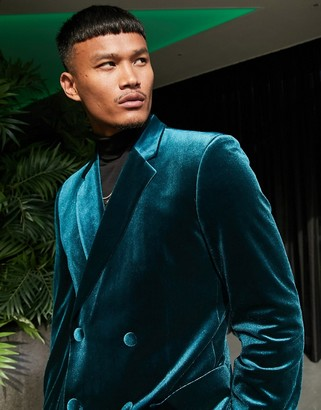 ASOS DESIGN super skinny double breasted blazer in forest green velvet