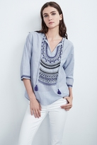 Mallory Embroidered Cotton 3/4 Sleeve Top