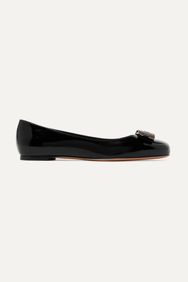 Salvatore Ferragamo Varina Studded Bow-embellished Patent-leather Ballet Flats - Black