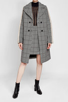 Carven Printed Wool-Blend Coat with Faux Shearling