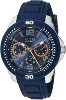 GUESS GUESS? Men's Quartz Stainless Steel and Silicone Casual Watch, Color:Blue (Model: U0967G2)