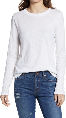 Madewell Whisper Cotton Rib Crewneck Long Sleeve T-Shirt
