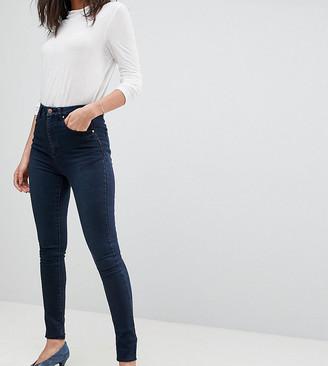 Asos Tall ASOS DESIGN Tall 'Sculpt me' high rise premium jeans in dark wash blue