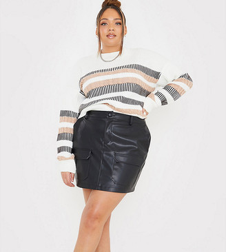In The Style Plus x Megan Mckenna faux leather utility a line mini skirt in black