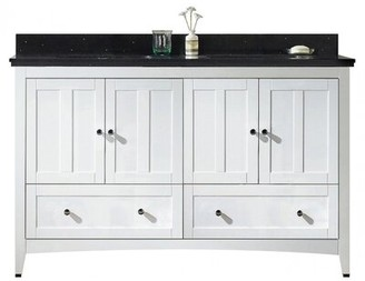 """American Imaginations 60"""" Double Bathroom Vanity Set Base Finish: White, Top Finish: Black Galaxy, Faucet Mount: 8"""" Center"""