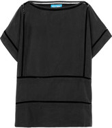 MiH Jeans Pointelle-trimmed washed-silk top