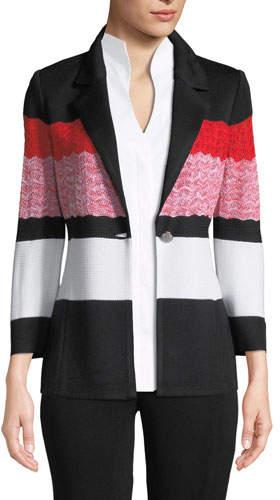 Misook Block-Striped One-Button Jacket, Plus Size