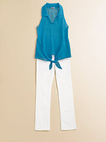 Sally Miller Girl's Tie-Front Blouse