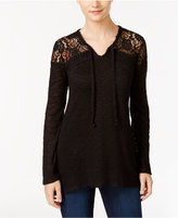 Style&Co. Style & Co. Lace-Yoke Tie-Neck Top, Only at Macy's