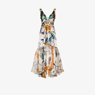 Silvia Tcherassi Floral Tiered Silk Midi Dress