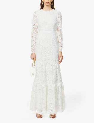 Self-Portrait Floral-pattern lace maxi dress